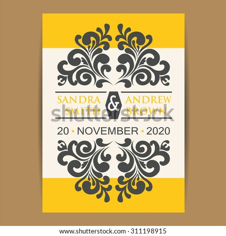 Wedding vintage invitation card or announcement. - stock vector