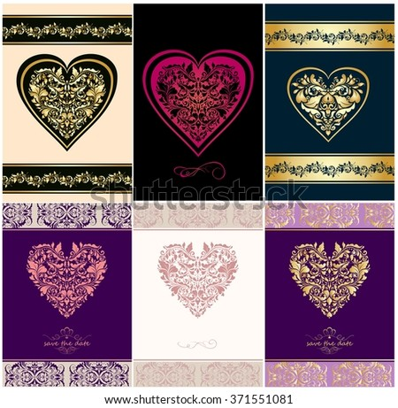 Wedding vintage invitations with floral heart shapes - stock vector