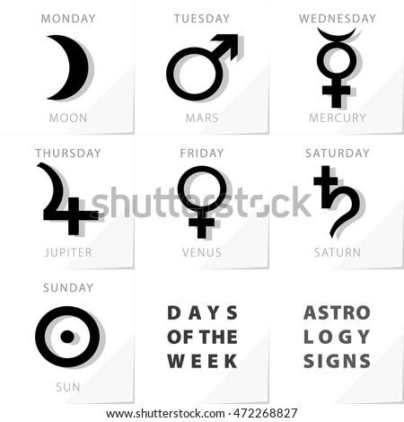 Week days astrology signs moon mars stock vector royalty free week days astrology signs moon mars mercury jupiter venus saturn sun icons beginning from monday urtaz Images