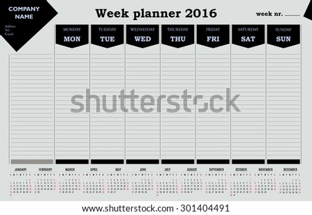 Week planner 2016 calendar for companies and private use. - simple design