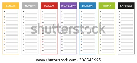 Week planning calendar in colors of the day (Sunday to Saturday) - stock vector