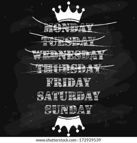 weekdays and friday words on chalkboard. vector illustration - stock vector