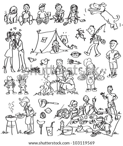 Weekend getaway, holiday doodled theme, bbq doodles set - stock vector