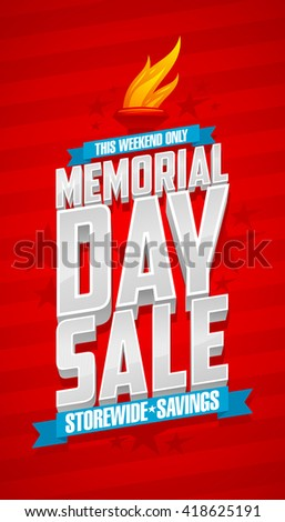 Weekend memorial day sale, storewide savings red banner. - stock vector