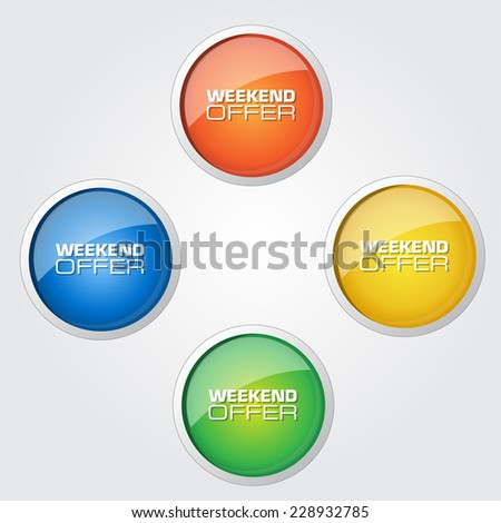 Weekend Offer Colorful Vector Icon Design