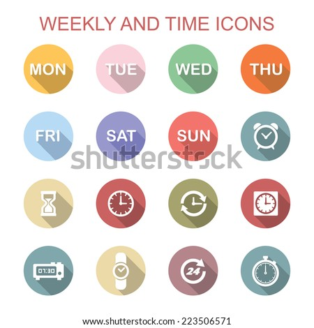weekly and time long shadow icons, flat vector symbols - stock vector