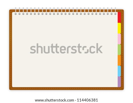 Weekly business project planner book on white background - stock vector