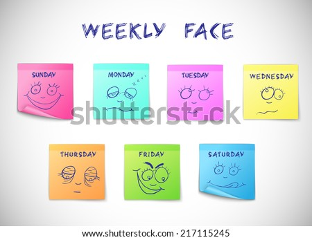 Weekly calendar colored peeling stickers with faces characters isolated vector illustration - stock vector