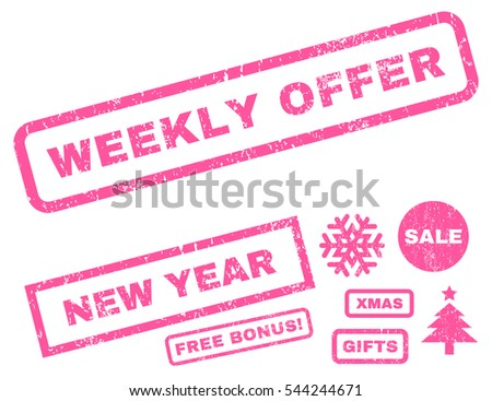 Weekly Offer rubber seal stamp watermark with additional banners for Christmas and New Year offers. Tag inside rectangular shape with grunge design and scratched texture. Vector pink emblems.