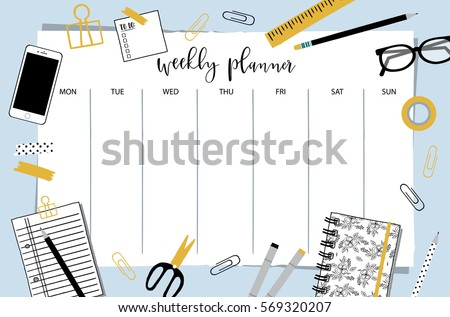 Weekly planner template organizer schedule place stock vector weekly planner template organizer and schedule with place for notes vector illustration pronofoot35fo Gallery