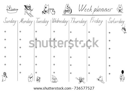 Weekly Planner Template Cats Organizer Schedule Stock Photo (Photo ...