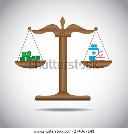 weighing or compare or exchange  money  to medicine concept  - stock vector