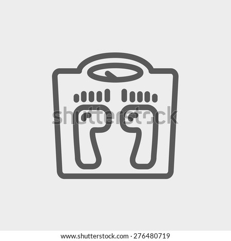 Weighing scale icon thin line for web and mobile, modern minimalistic flat design. Vector dark grey icon on light grey background. - stock vector