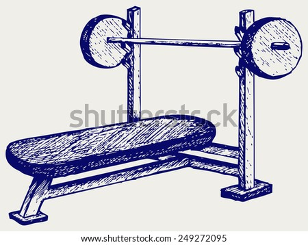 Weight bench for chest flat. Doodle style - stock vector