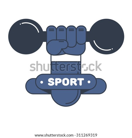 weight in the hand sports athletics symbol communication - stock vector