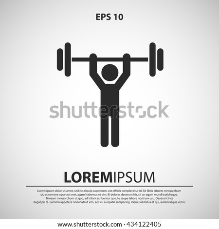 weight lifter icon. man lifting dumbbell sign - stock vector