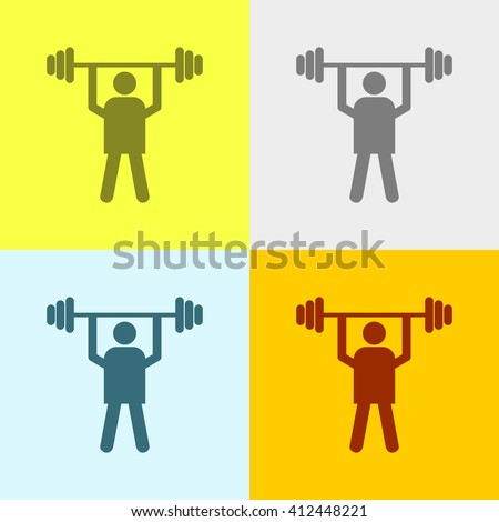 Weight Lifter Icon on Four Different Backgrounds. Eps-10. - stock vector