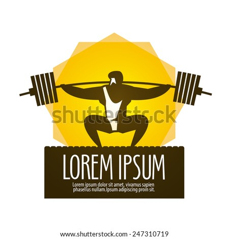 Weight lifter vector logo design template. gym or sports icon. - stock vector