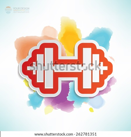 Weight lifting design,water colour design,clean vector - stock vector