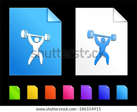 Weight lifting Icons on Colorful Paper Document Collection - stock vector