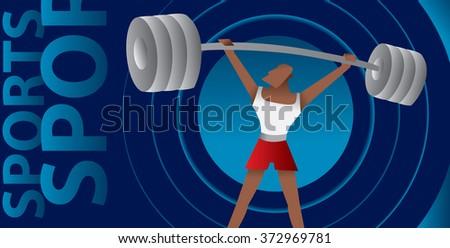 Weight Lifting Sport Man, Sports Poster (Vector Art) - stock vector