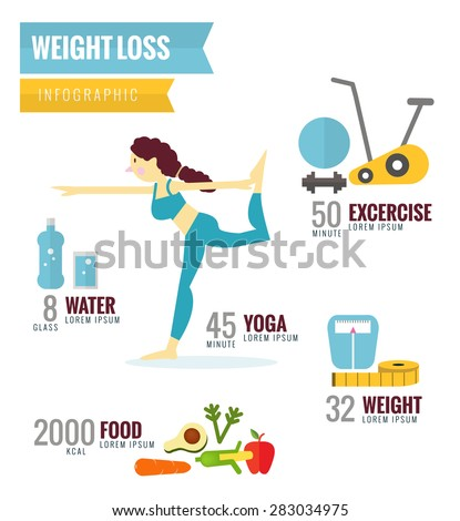 Weight Loss Infographics. flat character and icons design. vector illustration - stock vector