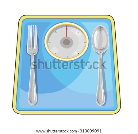 Weight loss vector, spoon and fork put on the scales.