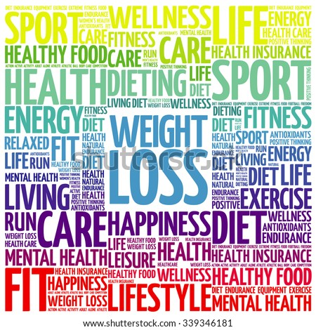Weight Loss word cloud background, health concept - stock vector