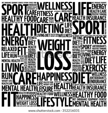 Weight Loss word cloud background, health concept