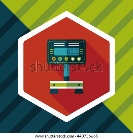 Weight scale flat icon with long shadow - stock vector