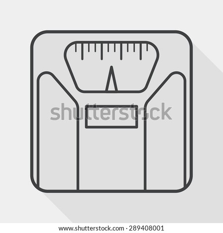 weight scale flat icon with long shadow, line icon - stock vector