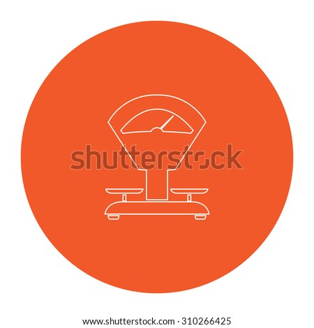 Weight Scale. Flat outline white pictogram in the orange circle. Vector illustration icon - stock vector