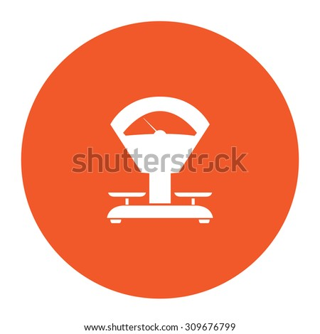 Weight Scale. Flat white symbol in the orange circle. Vector illustration icon - stock vector