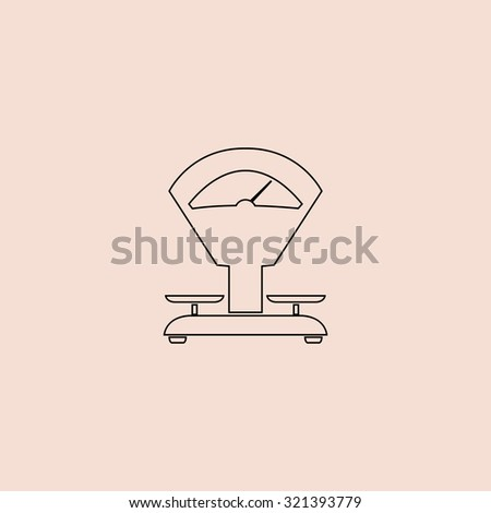 Weight Scale. Outline vector icon. Simple flat pictogram on pink background - stock vector