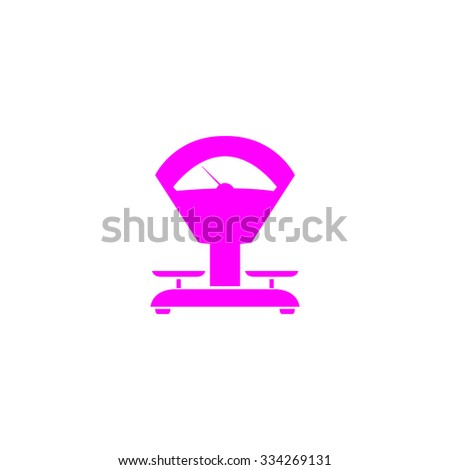 Weight Scale. Pink flat icon. Simple vector illustration pictogram on white background - stock vector