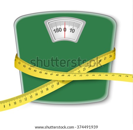 Weight scale with a measuring tape. Concept of diet. Vector.