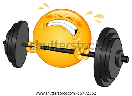 Weightlifter emoticon - stock vector