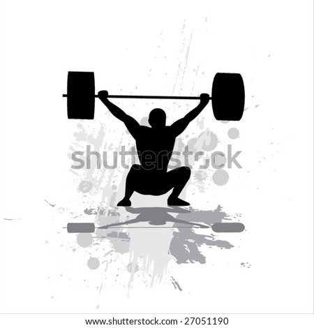 Weightlifter exercising-isolated on white background. - stock vector