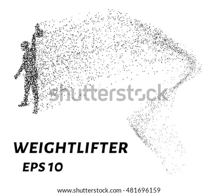 Weightlifter, particle divergent composition, vector illustration. Silhouette of a weightlifter from particles.