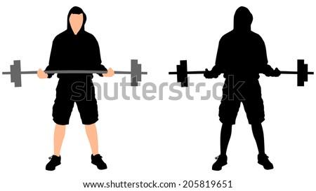 Weightlifter, vector - stock vector