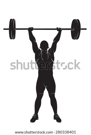 Weightlifter. Vector silhouette against white background - stock vector