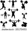 weightlifters silhouettes collection - vector - stock vector