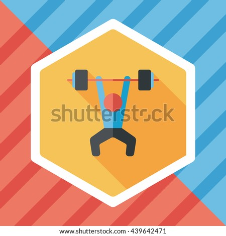weightlifting flat icon with long shadow,eps10 - stock vector