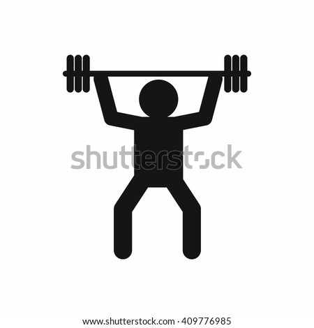Weightlifting icon in simple style  - stock vector