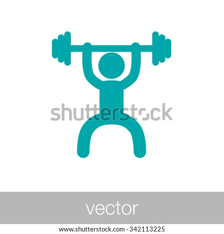 Weightlifting Icon. Weightlifter Icon. Concept flat style design illustration icon. - stock vector