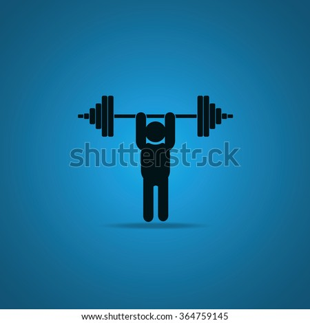 Weightlifting illustration. Barbell icon. - stock vector