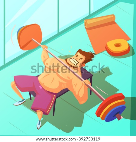 Weightlifting in a gym background with bench  barbell and man cartoon vector illustration  - stock vector