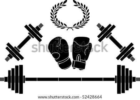weights and boxing gloves. vector illustration