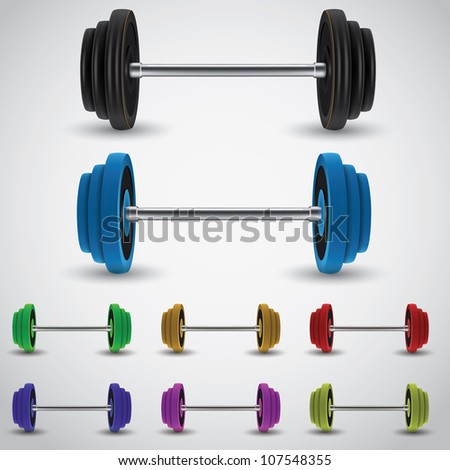 weights vector illustration. Barbel varian 3 colored
