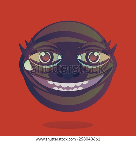 Weird looking character head smiling vector illustration. - stock vector
